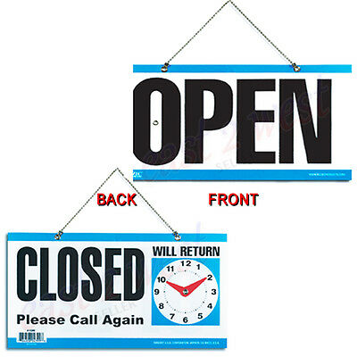 Open Back Closed Please Call Again Moveable Clock W Hanging 6x11.5 Sign New