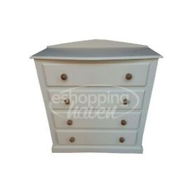 Handmade Sandra Bow Fronted 4 Drawer Chest Ivory/Cream (Assembled) ANY COLOUR/ SIZE