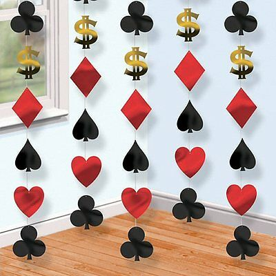 Pack of 6 7ft Las Vegas Casino Poker Theme Decorations - Card Suit Party Strings - Casino Party Theme