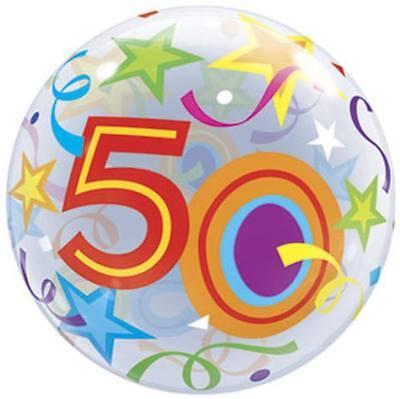 50th Birthday Bubble Balloon Fifty Birthday Party Decoration - Fifty Birthday Decorations