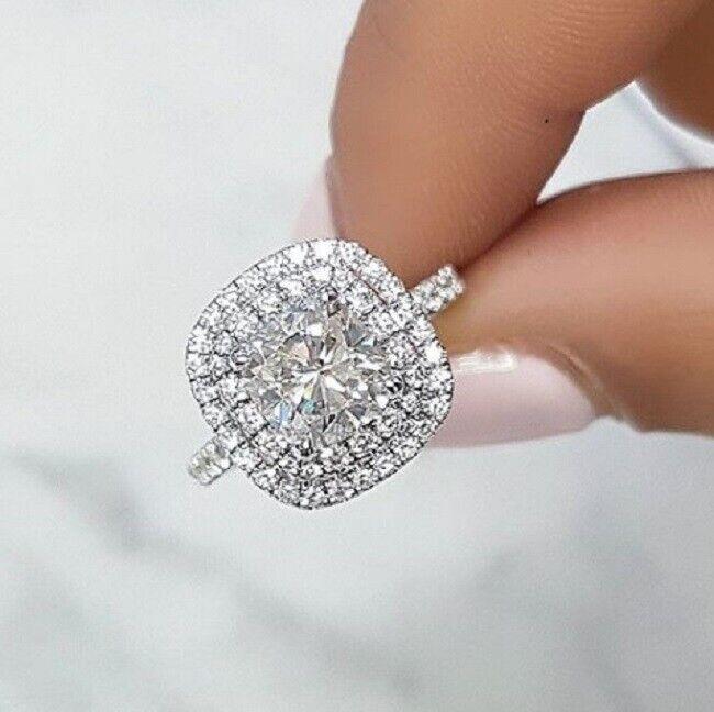 1.90 Ct Double Halo Cushion Cut Diamond Engagement Ring H,VS2 GIA Center 14KWG
