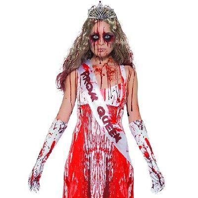 Halloween Damen Kostüm Blutig Prom Queen Satz Schärpe,Tiara & Handschuhe - Prom Queen Schärpe Kostüm