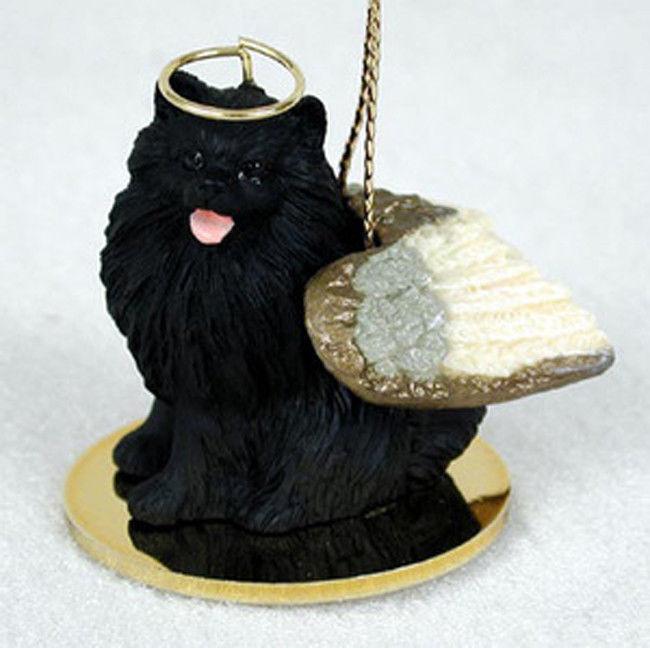 Pomeranian Ornament Angel Figurine Hand Painted Black