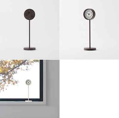"""New MUJI Mini """"Clock of Park"""" Brown Table Clock Quarts Small Stand Clock F/S"""