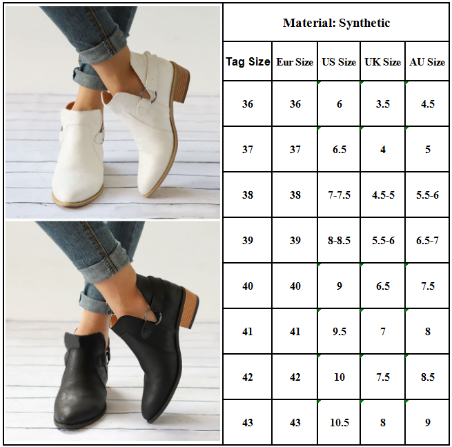 Women Ankle Boots Casual Mid Chunky Booties 6-10.5