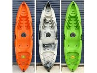 Sit on Top single person kayak with back rest & paddle. Mamboola Edge