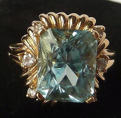 Vintage 14k Gold 4.82 Ct Natural Cushion Aquamarine+Diamond Ring~Superb Color!