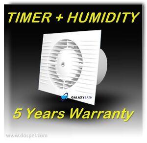 100mm Bathroom, Kitchen, Toilet Wet Room Extractor Silent Fan + TIMER + HUMIDITY