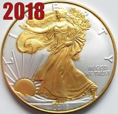 New  2018 American Silver Eagle   24K Gold Gilded  1Oz  999 Pure Silver Coin R