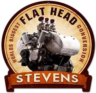 Vintage Flat Head Stevens Motorcycle Metal Sign Man Cave Garage Shop Barn FRC078