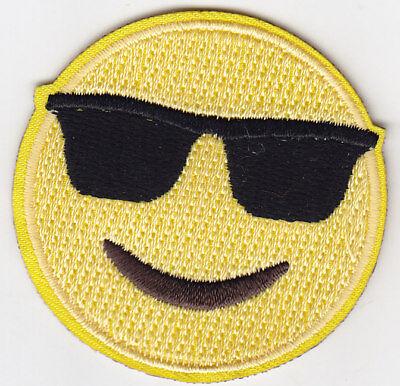 On Emoji ( EMOJI SUNGLASSES Iron On Embroidered Patch)