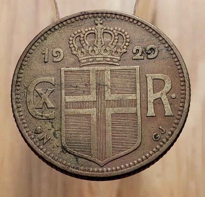 1929 Iceland 1 Króna World Coin--Scarce Date, Better Grade