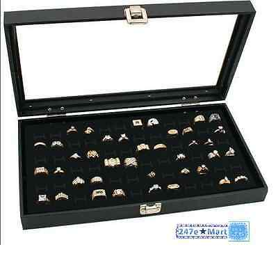 Brand New Glass Top Black Jewelry Display Case 72 Slot Ring Tray