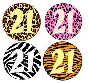 24 birthday animal print and age edible icing cupcake for Animal print edible cake decoration