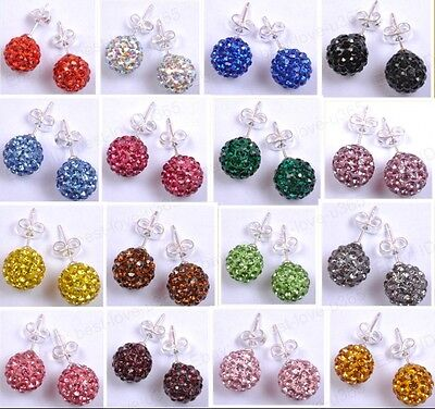 Fashion CZECH CRYSTAL Disco Ball BEADS & SILVER STUDS Earring Choose Colors 10MM (Colored Disco Ball)
