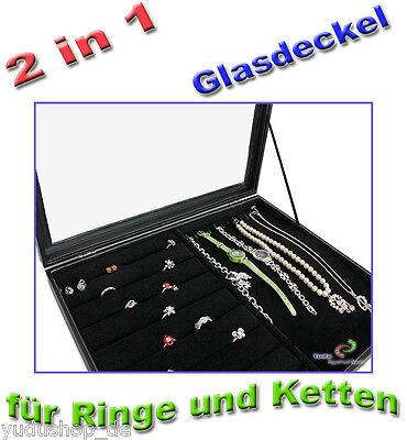 """""""2 in 1"""" Schmucklade  Schaukasten für Ketten Ringe mit Glasdeckel"""