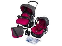 Graco pink grey travel system pushchair car seat