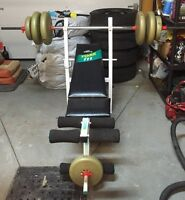 York bench press with weights.