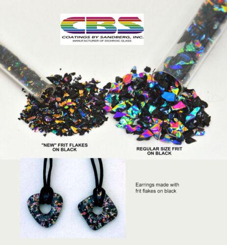 Dichroic Frit Flakes Rainbow on Black CBS One Ounce Tube Glass 90 COE Dichroic