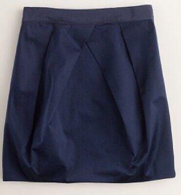 New J. Crew Lunette Mini Skirt Pleated Navy Blue Cotton Blend Career - Size 00