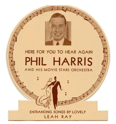 1936 Phil Harris & His Movie Stars Orchestra Tabletop Standee Cincinnati