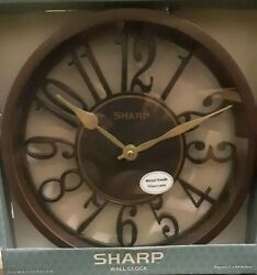 NEW Sharp Quartz Bold Black w/ Gold Hands Contemporary Modern Style Wall Clock