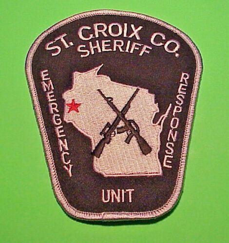 """ST. CROIX CO. WI  EMERGENCY RESPONSE UNIT ( SILVER BORDER )  5"""" POLICE PATCH"""