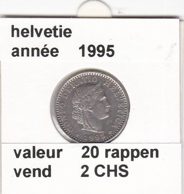 S 2 ) pieces suisse de 20 rappen de 1995    voir description