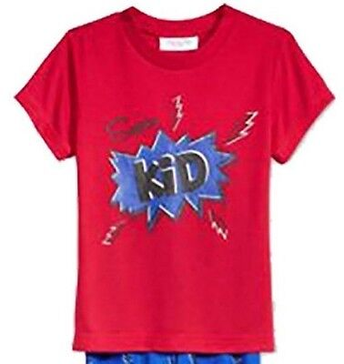Family  PJs Kids Super Kid Pajama TOP ONLY Thunder Bolts Red 14-16 NWOT