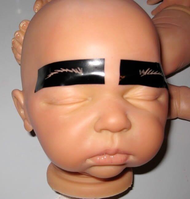 OOAK Reborn Baby Doll Eyebrow Stencils 4 Reborners-EASY-2-USE-set of 12- $.83 ea