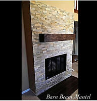Fireplace Mantels - Reclaimed Barn Beams