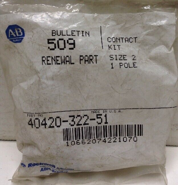 Allen-Bradley 40420-322-51 Contact Kit Size 2, 1 Pole