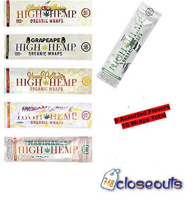 Flavored Papers - High Hemp Organic 5 Packs Variety Flavor (10 Wraps) Non-GMO Tobacco Free Vegan
