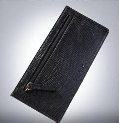 Cole Haan Black Card Case Leather  Wallet  6 Credit Card  Id Holder  Zip Pocket