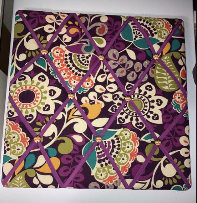 Vera Bradley Ribbon Board Bulletin Photoboard Purple Plum Crazy Floral -square