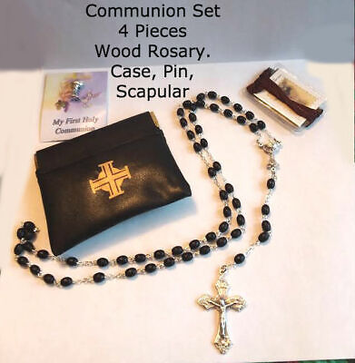 First Holy Communion 4-Piece Gift Set BOY (Rosary, Pin, Scapular, Pouch)](Boy First Communion Gifts)