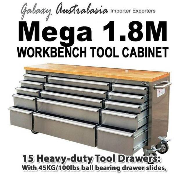 """72"""" Stainless Steel Workbench Tool Trolley"""