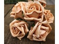 Beautiful champagne shimmering foam roses