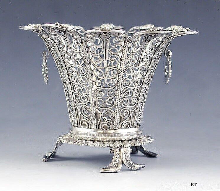 Antique c1825 Gorgeous Form European Silver Filigree Wire Openwork Basket Dish