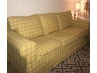 Ikea ektorp 3 seater sofa with yellow check cover.