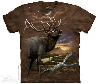 THE MOUNTAIN ELK AT DUSK WILD ANIMAL WOODS SUNSET TREE SCENE T TEE SHIRT S-5XL (Wild Animal T-shirts)