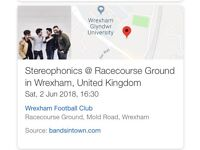 2 x Standing Tickets for Stereophonics Wrexham