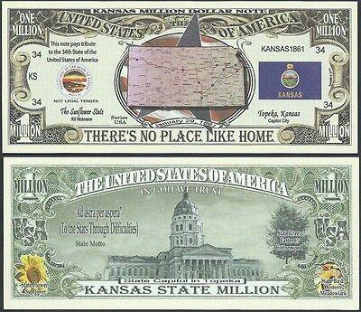 Lot of 100 BILLS- KANSAS STATE MILLION DOLLAR BILL w MAP, SEAL, FLAG, CAPITOL