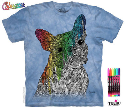 Colorwear Art Project T-Shirt & Tulip Fabric Markers Boston Terrier Dog Coloring - Tulip Fabric Markers