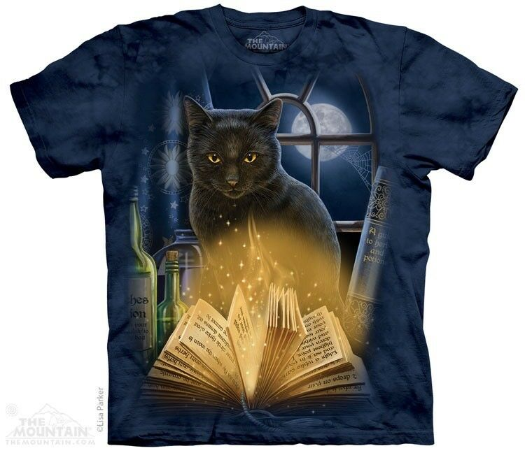 Magicians Black Cat Full Moon S-5XL The Witching Hour T-Shirt by The Mountain