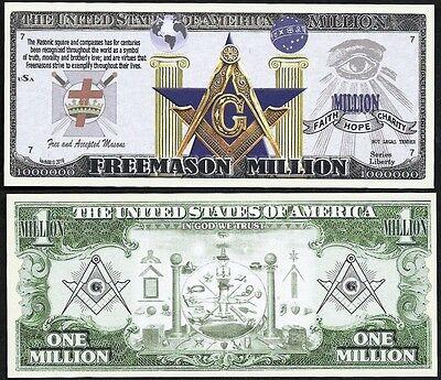 Lot of 100 BILLS  Free Mason Symbols Million Dollar Masonic Square & Compass