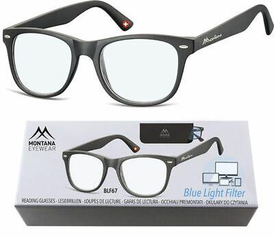 ---Blaulichtfilter-- Lesebrille Montana Blaufilter schwarz Nr4 - Schwarze Brille