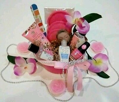 Mothers Day Gift Basket Pink Facial Nail Polish Bath Body Lotion Shower Gel Set