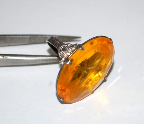 ANTIQUE ORANGE STONE 925 Sterling Silver LADIES WOMANS Ring SIZE 3 LOVELY PATINA