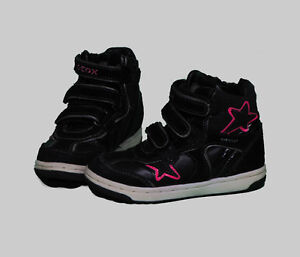 Toddler girl size 10, Geox leather high top running shoes.